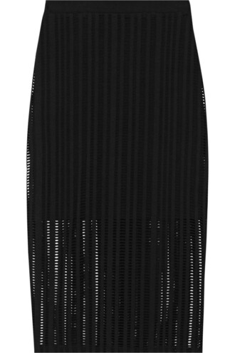 skirt knit open cotton black