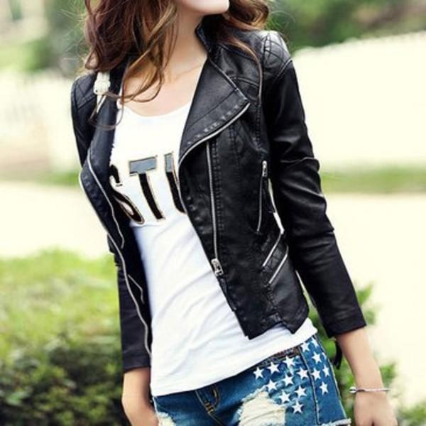 New Womens Punk Style PU Leather Jacket Coat Short Slim Motorcycle Jacket Black | eBay