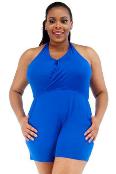 Romper Royal Blue Dress Jumper Jumpsuit Shorts Plus Size Plus