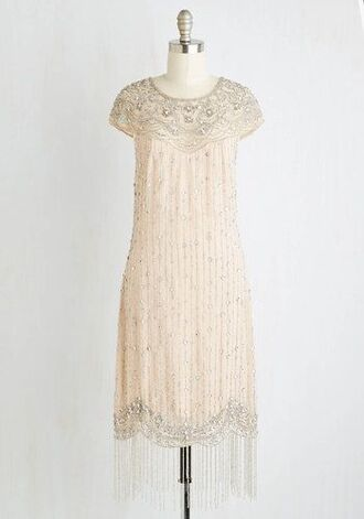 dress cream sequins beaded scalloped 2015 2016 new year's eve 1920s vintage the great gatsby embroidered