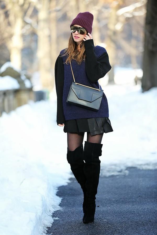 fashion vibe skirt coat shoes sweater bag sunglasses hat