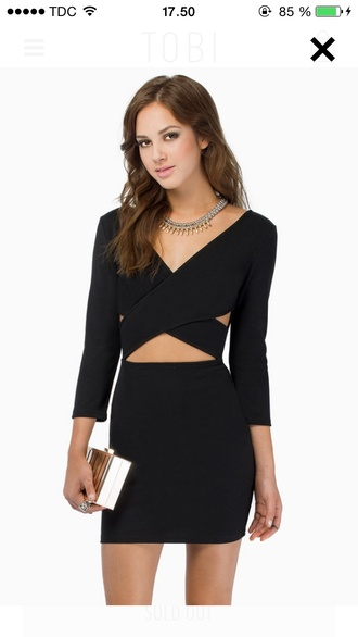 dress black wantthisformybirthdaypartty crop tops cross over dress holes wheretoget?