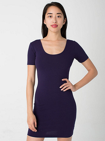 Cotton Spandex Jersey Double U-Neck Dress | American Apparel