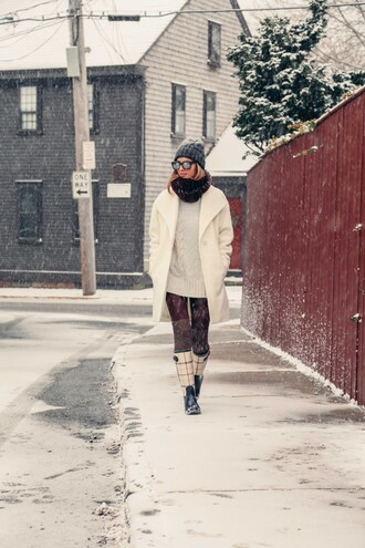 prosecco and plaid blogger winter outfits white coat wellies cable knit