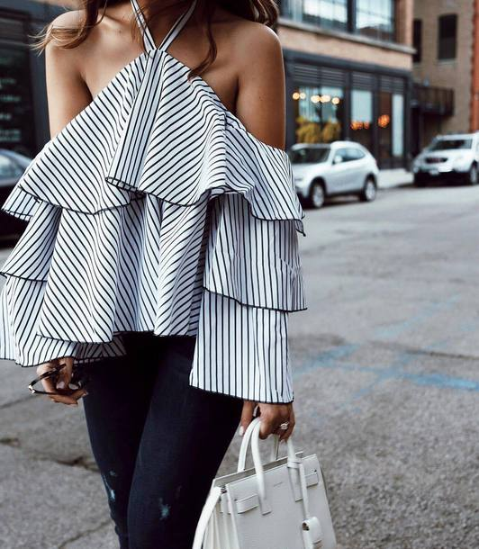 top tumblr cut-out shoulder top cut out shoulder stripes striped top ruffle bag white bag