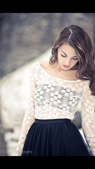 top lace top long sleeves white top