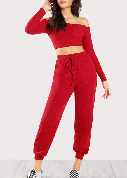 jumpsuit girly red two-piece matching set crop tops crop cropped off the shoulder off the shoulder top joggers