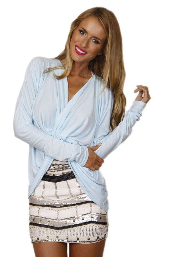 top baby blue sweater light blue sweater blue sweater twist top long sleeves soft sweater twist and turn top www.ustrendy.com
