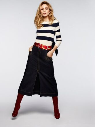 sweater stripes striped sweater olivia palermo midi skirt skirt denim skirt