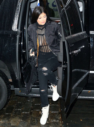 top see through kylie jenner pants fall outfits bomber jacket jacket scarf boots shoes