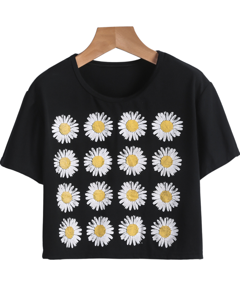 T-Shirt court motif tournesol -Noir