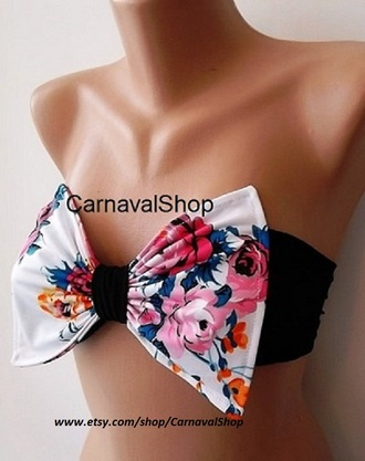 swimwear bow bandeau bandeau bikini top top women's clothing beacwear bow bikini bikini floral top