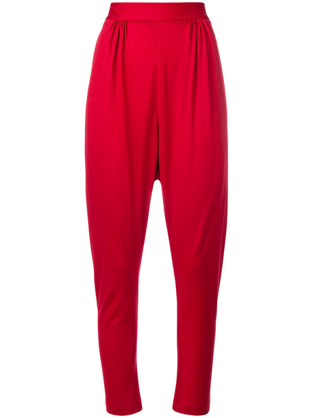 VIONNET high women silk wool red pants