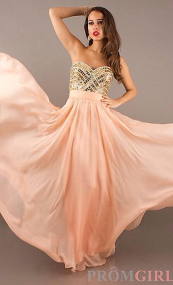 dress peach dress promgirl gold beading long prom dresses