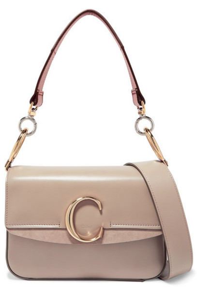 Chloé Chloé - C Small Suede-trimmed Leather Shoulder Bag - Neutral