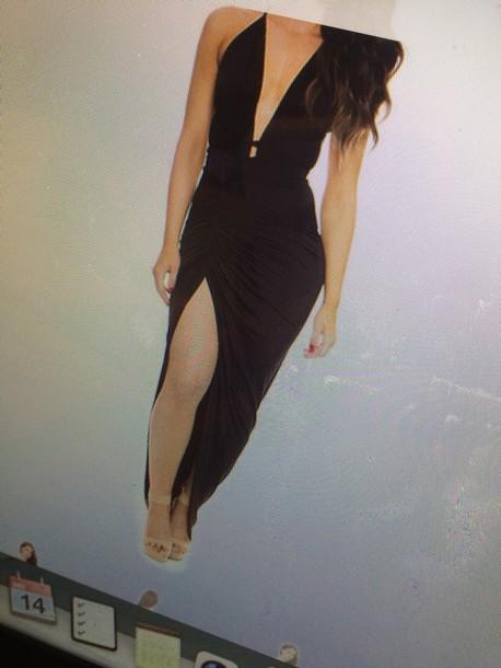 dress black dress slit low cut