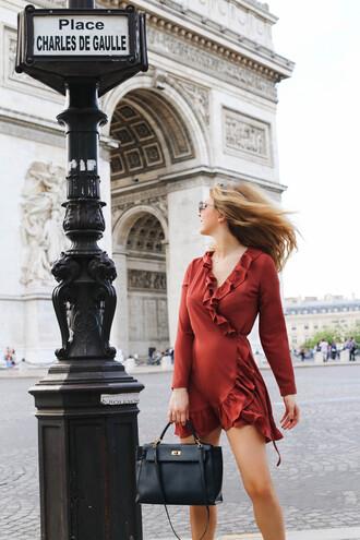 dress tumblr red dress wrap dress ruffle ruffle dress long sleeves long sleeve dress v neck bag