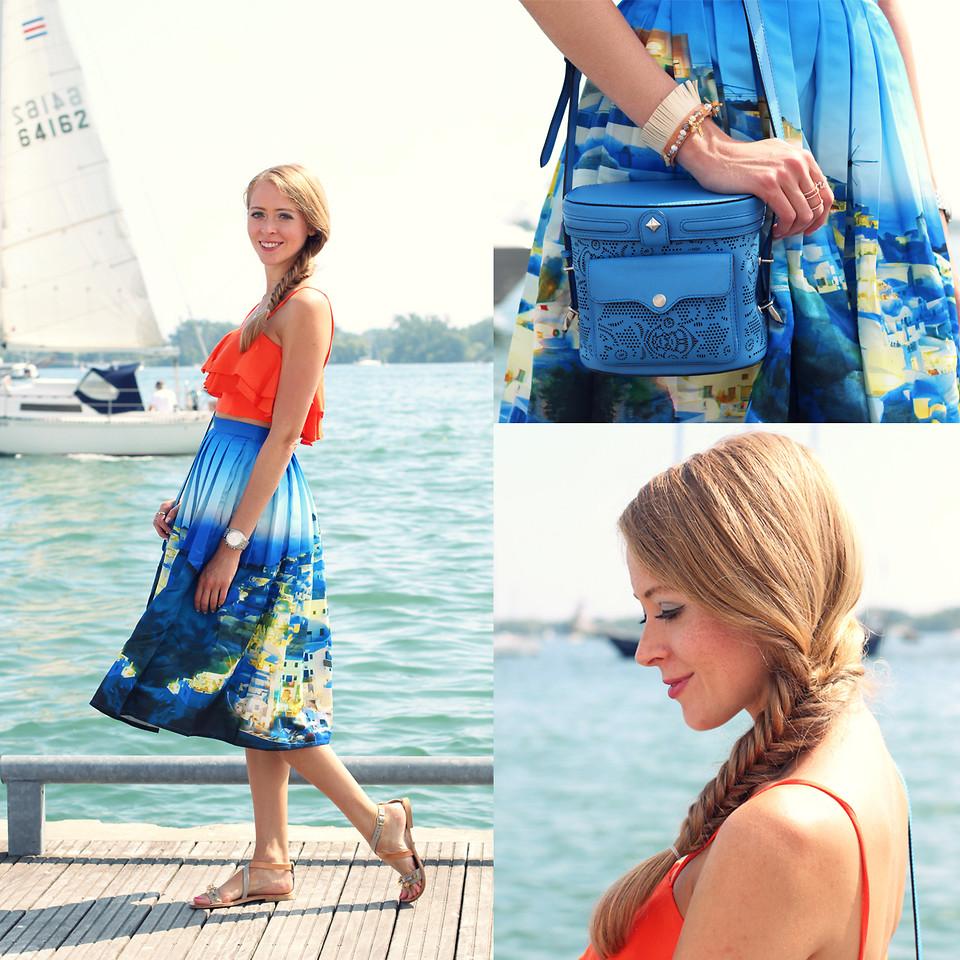 Chicwish Santorini Print Pleated Midi Skirt - Retro, Indie and Unique Fashion