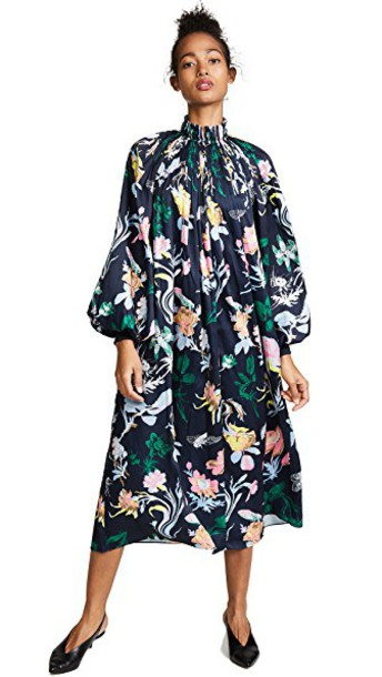 Tibi dress floral navy