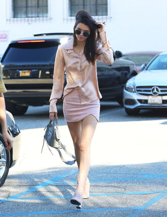shoes kendall jenner nude shirt blouse skirt sunglasses