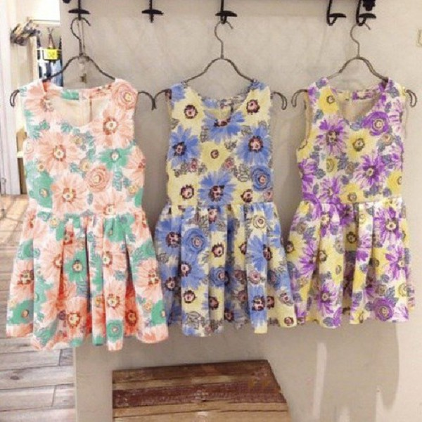 clothes dress floral dress cute dress pink blue dress purple dress fashion girly