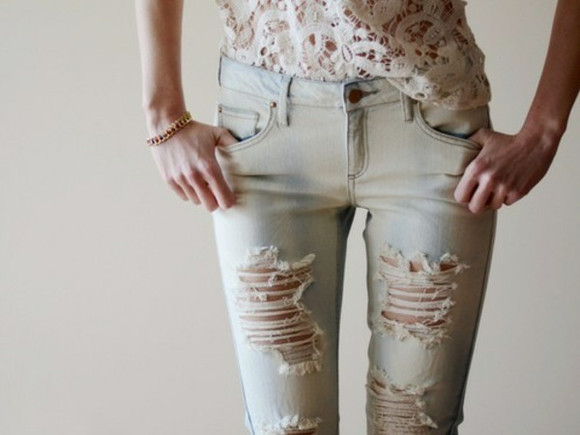 jeans white holes cool