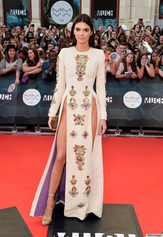 dress kendall jenner beige dress slit dress