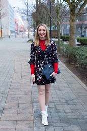 avecamber,blogger,dress,sweater,shoes,bag,clutch,ankle boots