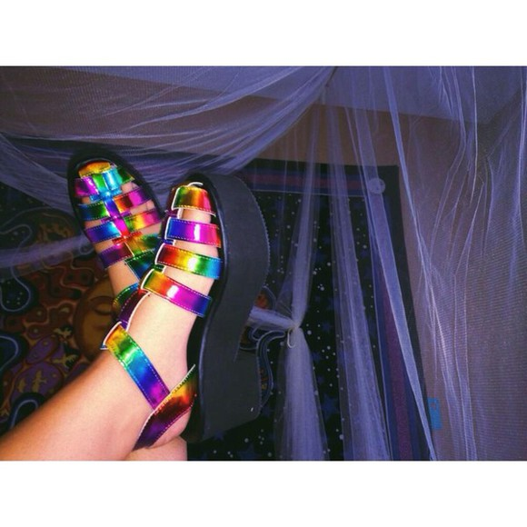 rainbow shoes 90s jellies jellies Jelly shoes rainbow shoes colourful colour multi colored