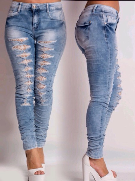 jeans www.ikrush.com denim ripped jeans white high heels white heels white platforms skinny jeans