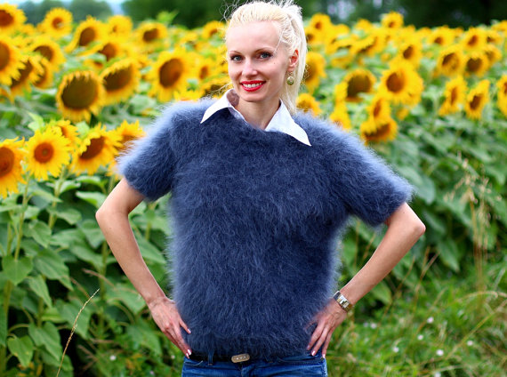 Hand knitted mohair sweater in bluish gray by by supertanya