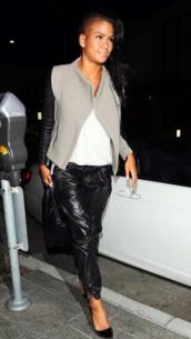 jacket,biker jacket,cassie ventura,jeans,celebrity style
