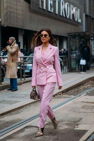 shoes leopard print leopard print high heels leopard bag bag pink blazer blazer pants pink pants pink sunglasses