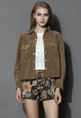 chicwish jacket suede jacket camel