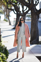 coat,tumblr,pink coat,dusty pink,cardigan,grey cardigan,pants,grey pants,work outfits,office outfits,cropped pants,culottes,palazzo pants,top,striped turtleneck,turtleneck,stripes,striped top,pumps,pointed toe pumps,high heel pumps,sunglasses,black sunglasses