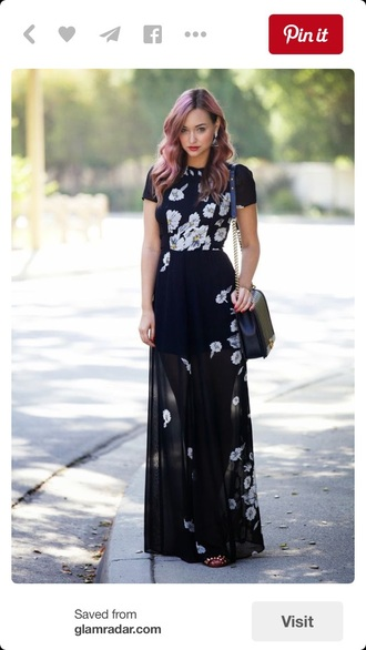 dress maxi dress black dress sheer mesh maxi black black and white daisy floral dress floral long dress summer dress summer fashion style