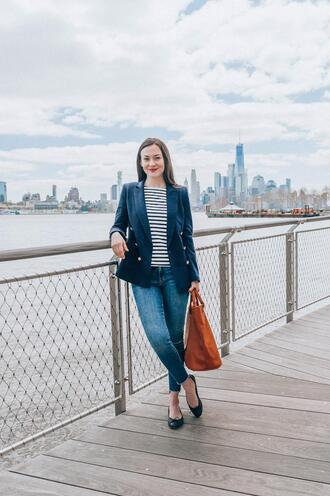 thecollegeprepster blogger jacket shirt jeans bag sunglasses blazer striped top ballet flats brown bag spring outfits