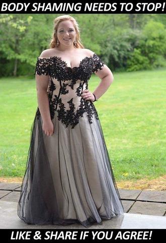 dress lace off the shoulder bodice plus size curvy black dress