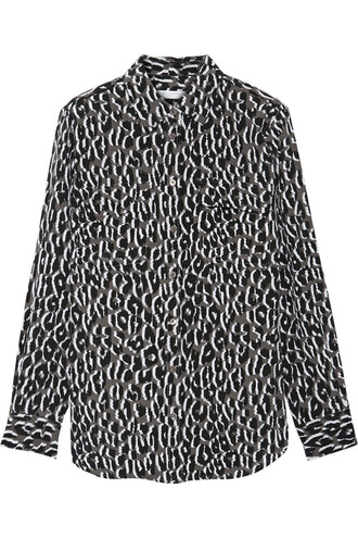 shirt silk print black leopard print top