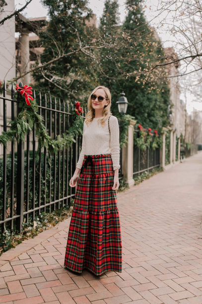 kelly in the city - a preppy chicago life style and fashion blog blogger leggings skirt sweater plaid skirt maxi skirt fall outfits