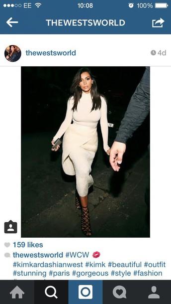 kim kardashian beige skirt