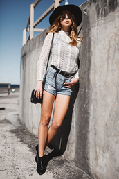 sbstnc,blogger,shoes,top,hat,bag,white top,lace top,distressed denim shorts,boho chic,long sleeves,ankle boots,fall outfits