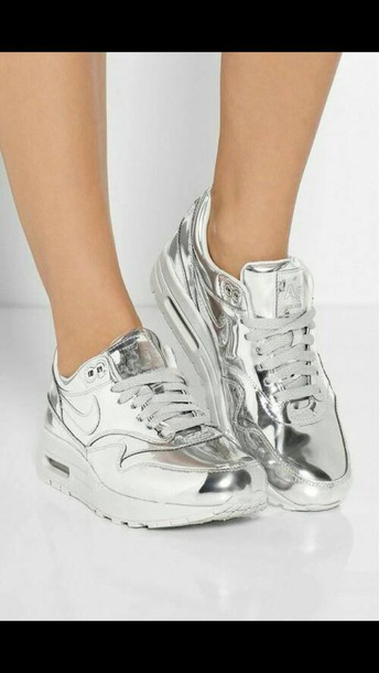 shoes nikes air max silver shiny.
