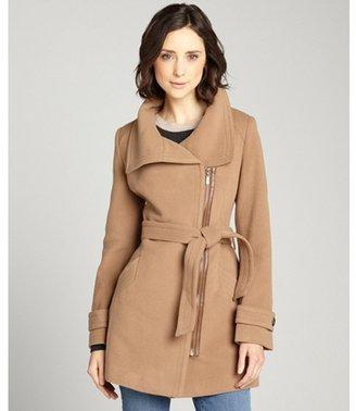 Cole Haan camel wool-cashmere blend asymmetrical zip front coat - ShopStyle