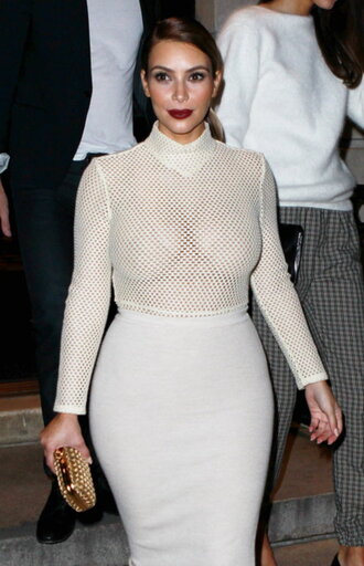 mesh top white top fishnet top sheer kim kardashian