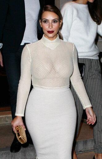 fishnet top white top fishnet top sheer kim kardashian
