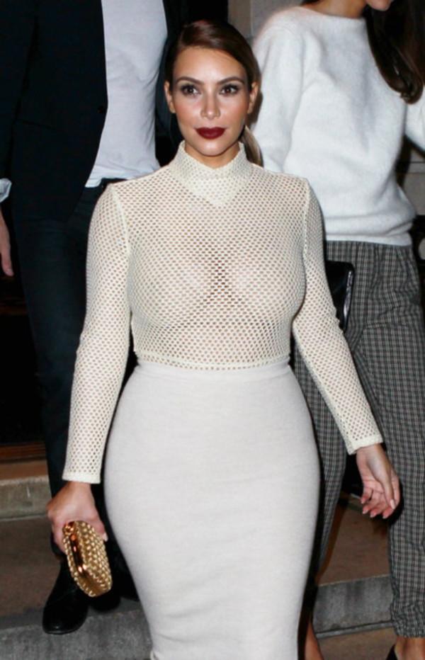 mesh top white top fishnet top sheer kim kardashian