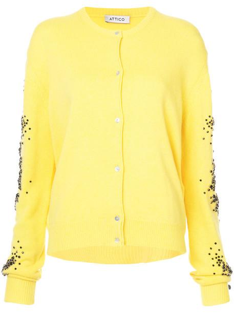 Attico cardigan cardigan women embellished wool yellow orange sweater