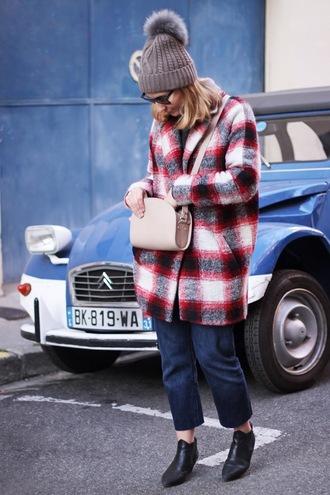 jane's sneak peak blogger coat pom pom beanie flannel