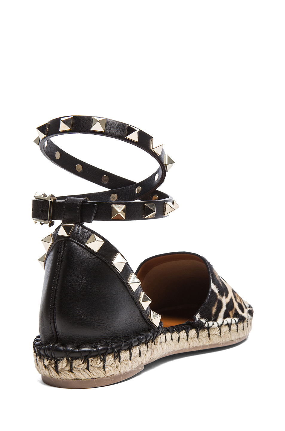 Valentino | Cavallino Double Rockstud Leopard Espadrilles in Moro, White, and Black